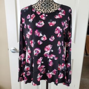 Ellen Tracy Floral Bell Sleeve Top